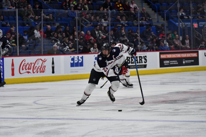 UConn won the first game Friday with the game winning goal coming from Ben Freeman. Game 2 went to overtime where the Bears scored to keep the Huskies from sweeping.  Photo by Kevin Lindstrom/The Daily Campus.