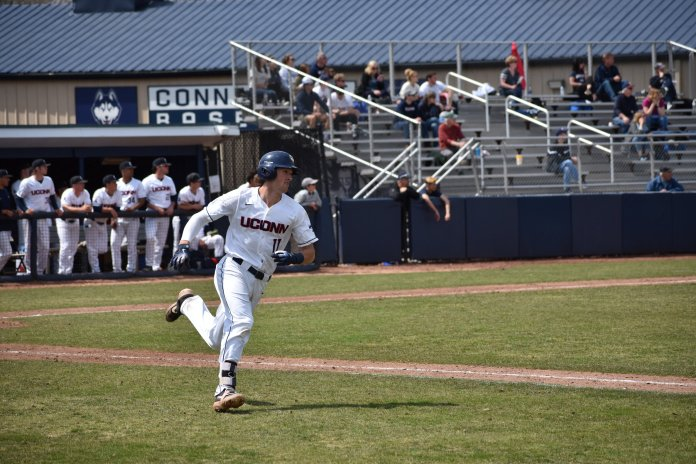The UConn Huskies beat the University of Memphis 4 - 2, Sunday, at J. O. Christian Field. UConn had a double steal in the eighth inning, a risky move that put them in the position to take back the lead and finish off the game leading by two.  Photos by Kevin Lindstrom/The Daily Campus