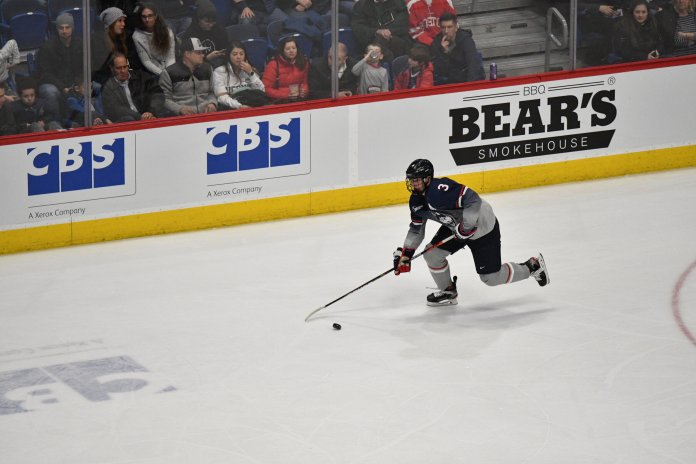 After a hot start to the game, the Huskies went into a drought in the second and third periods. All that mattered was the final score though, as a couple big goals earned the Huskies a 3-2 win Friday.  Photo by Kevin Lindstrom/The Daily Campus.