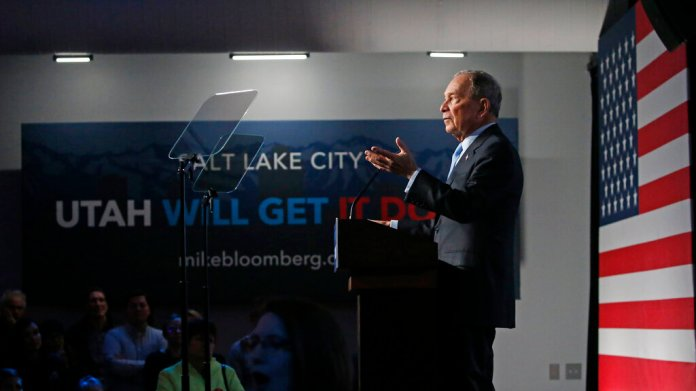 Democratic presidential candidate and former New York City Mayor Mike Bloomberg speaks during campaign event, Thursday, Feb. 20, 2020, in Salt Lake City.  Photo by Rick Bowmer/AP