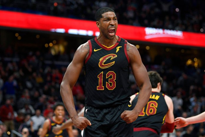 Cleveland Cavaliers center Tristan Thompson yells during the second half of the team's game against the Washington Wizards, Friday in Washington. The Cavaliers won 113-108.  Photo courtesy of Nick Wass/AP