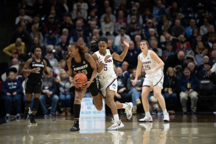 For their final game at Gampel Pavilion this season, the UConn women's basketball team celebrates senior day against UCF, they won 66-53. UConn matches up against Cincinnati Wednesday away.  Photo by Charlotte Lao/The Daily Campus