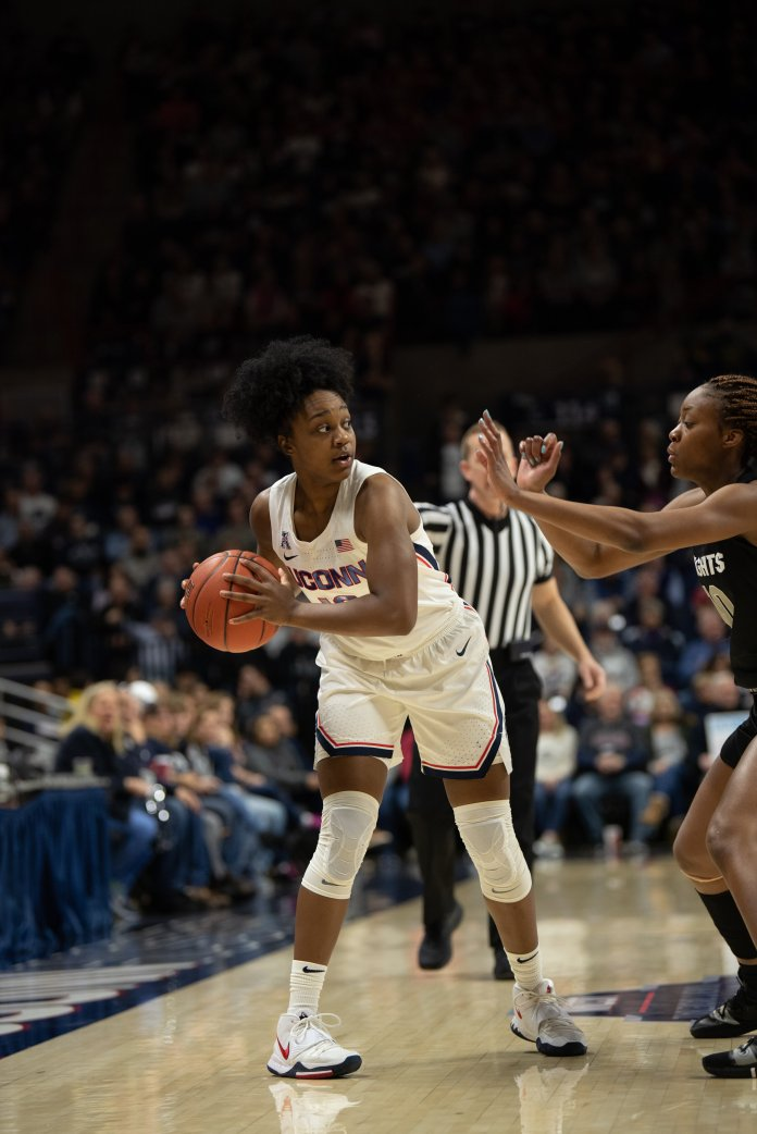 UConn guard Christyn Williams during the Huskies' win over UCF Saturday. She finished with three points in 38 minutes.  Photo by Charlotte Lao/The Daily Campus