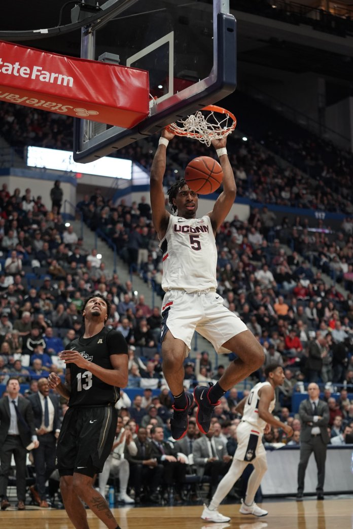 Christian Vital and Isaiah Whaley led the team with 18 points each, and James Bouknight drooped 16 as well.  Photo by Eric Wang/The Daily Campus