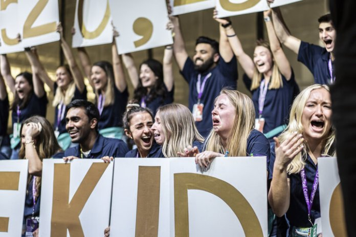 UConn students raise a record $1,520,234.98 for Connecticut Children's Medical Center in their annual HuskyTHON dance marathon. The dance marathon lasts 18 hours and is a show of solidarity and support for children effected by long-term illnesses.  Photo by Maggie Chafouleas / The Daily Campus