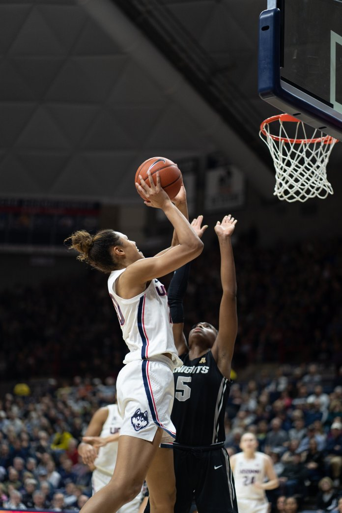 For their final game at Gampel Pavilion this season, the UConn women's basketball team celebrates senior day against UCF. They defeated UCF 66-53.  Photo by Charlotte Lao/The Daily Campus