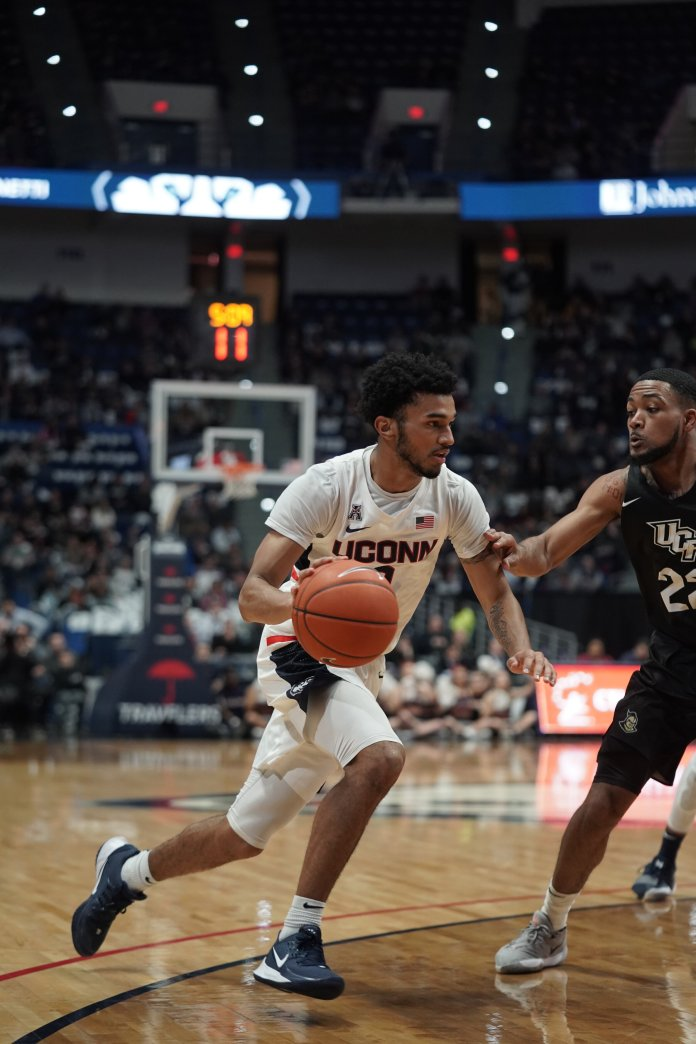 The Huskies took another home win, this time against UCF with a final score of 81-65. Christian Vital (1) and Isaiah Whaley (5) leading the team with 18 points each, and James Bouknight (2) with 16 points. Senior night will be week next week on 3/5, played against University of Houston.  Photo by Eric Wang/The Daily Campus