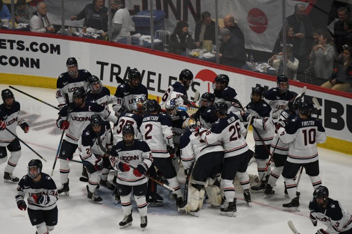 With the win, UConn clinched a spot in the Hockey East playoffs. They will need a win or Maine loss next week to host a quarterfinal series.  Photo by Mike Mavredakis/The Daily Campus.