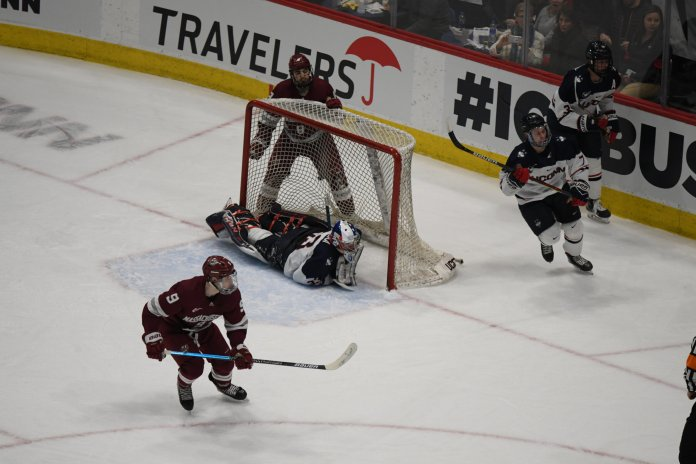 UConn men's hockey beat UMass 3-2 Friday night before falling 4-3 in Saturday's rematch. It was a couple of very exciting matchups during a thrilling weekend as the Hockey East playoffs near.  Photo by Mike Mavredakis/The Daily Campus.