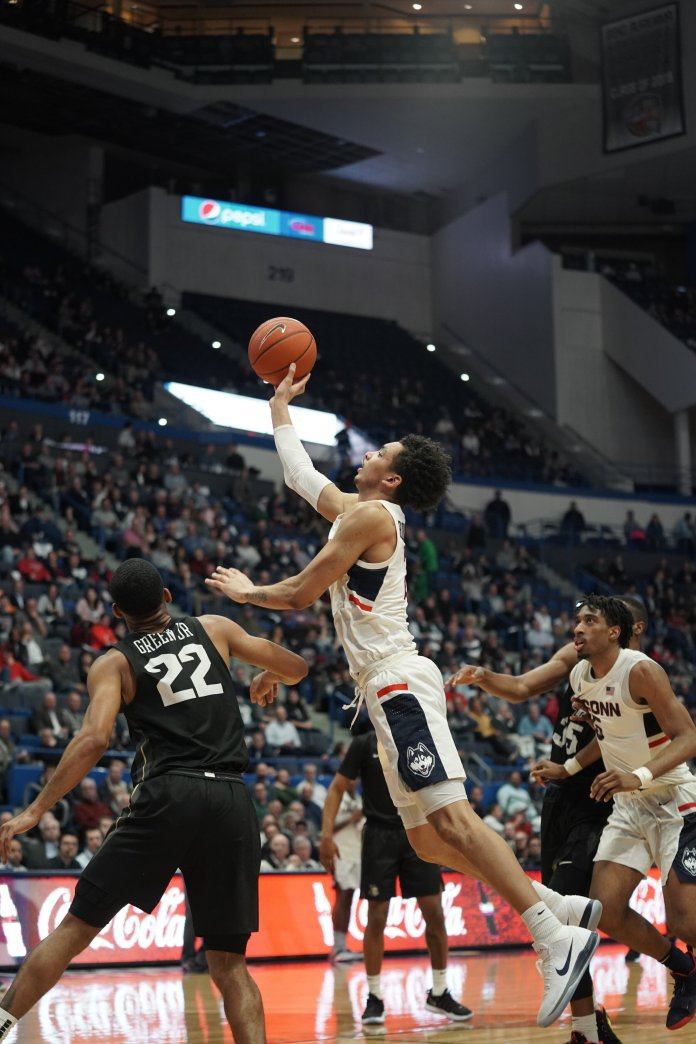 The Huskies beat ECU is dominant fashion, beating the Pirates 84-63. James Bouknight recorded his first double double racking up 19 points and 10 rebounds.  Photo by Eric Wang/The Daily Campus.