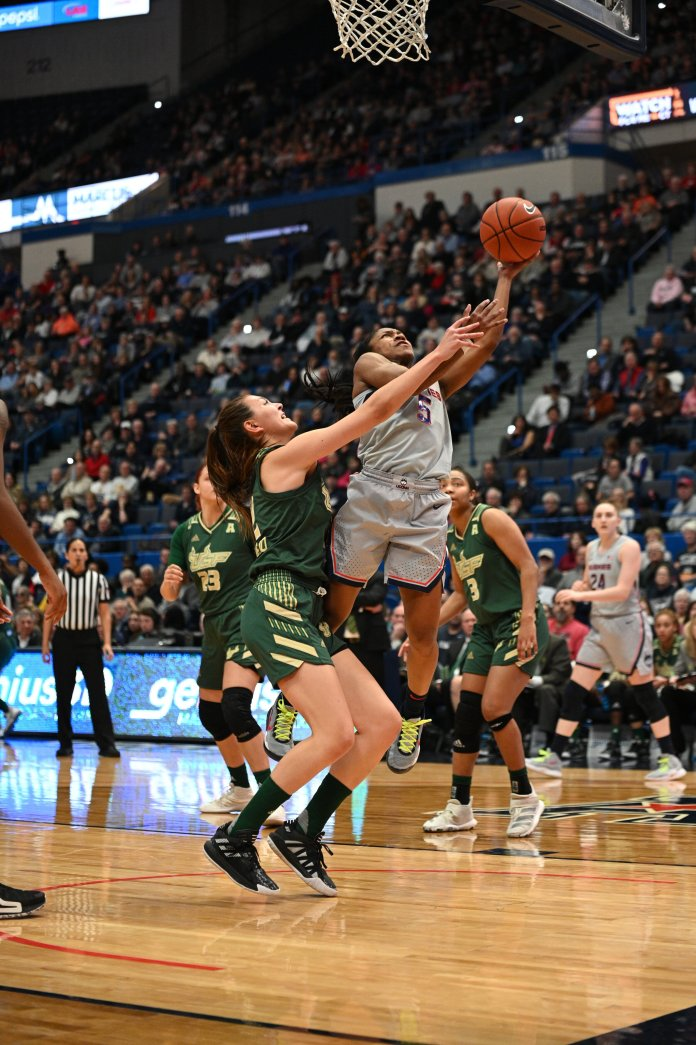 UConn beats USF 80-39 in the XL Center Monday evening. Aubrey Griffin made all 3 of her free throws and 5 of 6 field goals. The Huskies commanded the court with a very strong first half that led UConn to a resounding win.  Photo by Kevin Lindstrom/The Daily Campus