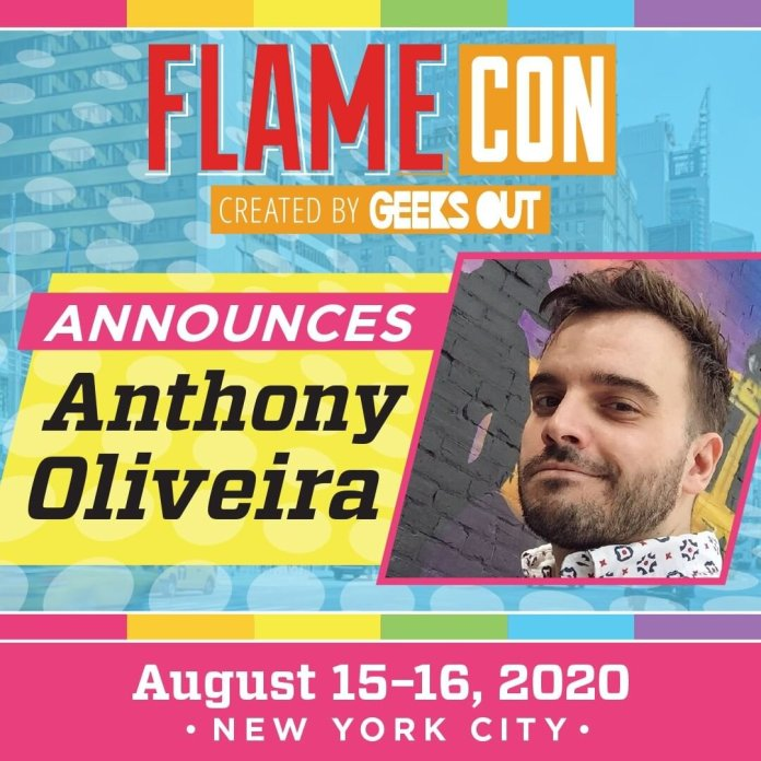 An advertisement for Flame Con. Flame Con's biggest guests this year are Dr. Chuck Tingle and Anthony Oliveira.  @instaflamecon
