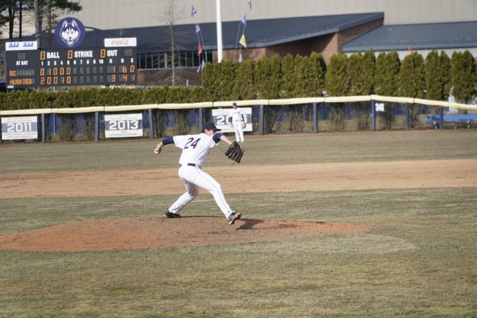 The Huskies won 3-1 to the Boston College Eagles on Wednesday. Their next home game is on 4/2, playing against Fairfield University at the J.O. Christian Field.  Photo by Eric Wang/The Daily Campus