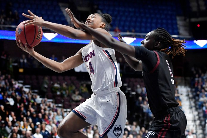 UConn has won their two games in the tournament by a combined 74 points. They are set to face off against Cincinnati in the finals tonight at 7 p.m..  Photo by Jessica Hill/AP Photo.