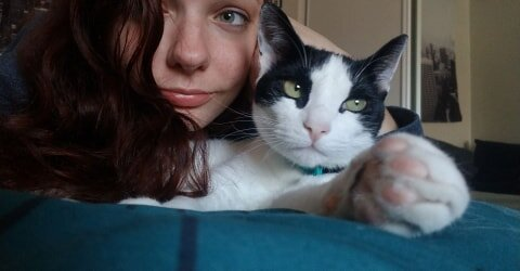Courtney Gavitt has an emotional support cat in her Charter Oak apartment.  Photo provided by Courtney Gavitt