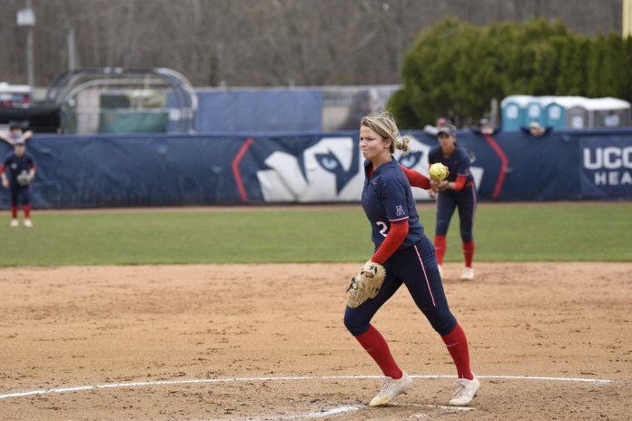 UConn pitchers Marybeth Olson and Megan O'Neil hold the No. 2 and 3 ERAs in the AAC respectively. They have been a major reason for the Huskies' hot start.  Photo by Brandon Barzola/The Daily Campus.