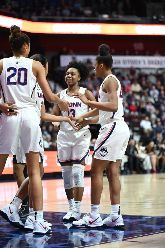 It was a complete team effort for the Huskies in their last win. Four of UConn's five starters got into double figures while Anna Makurat racked up a team-high eight assists.  Photo by Kevin Lindstrom/The Daily Campus.