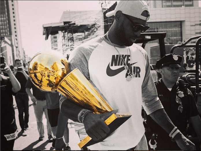 Finally after nearly 10 years in the league, LeBron was able to win his first title after going to seven games with the Oklahoma City Thunder. He wasn't as successful as he was with the Heat, but LeBron still found a title by hanging around in Cleveland for a few years.  Photo via Instagram @kingjames.