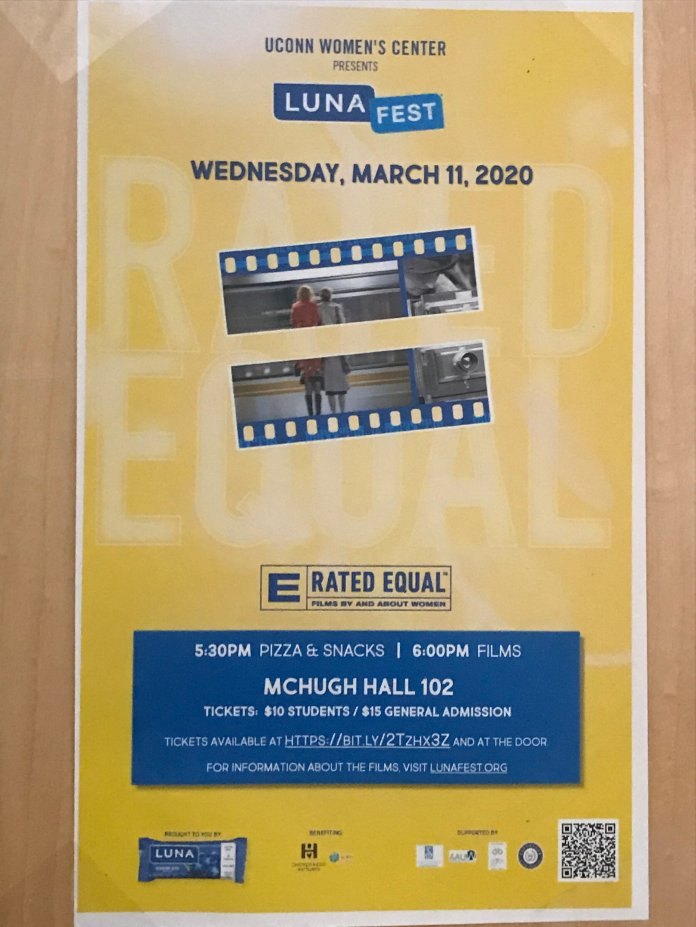 A poster advertising the event on campus. LUNA Fest was held in McHugh Hall this year by the Women's Center.  Photo courtesy of author.