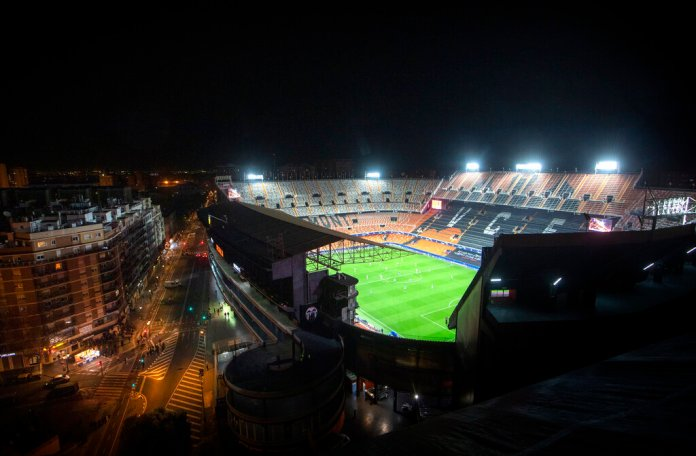 General view of Mestalla stadium during the Champions League round of 16 second leg soccer match between Valencia and Atalanta in Valencia, Spain.  Photo by Emilio Morenatti/AP