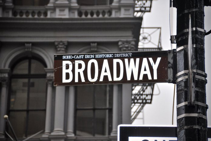 A photo of the Broadway street sign. 77 years ago the musical 'Oklahoma!' premiered on Broadway.  Photo by    Jordhan Madec    on    Unsplash