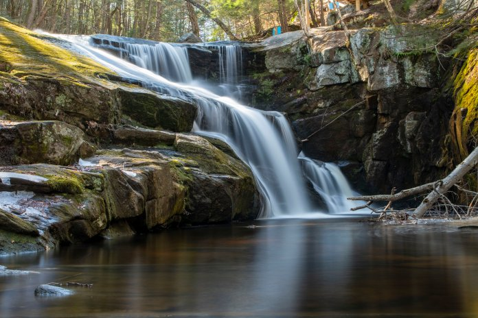 A flowing waterfall in Enders State Forest this spring. The river has multiple waterfalls and trails conecting all of them.  Photo by Kevin Lindstrom/The Daily Campus