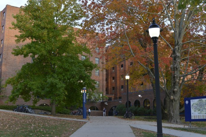 Thomas Buckley Hall in the fall. Buckley is one of five residence halls that may convert into emergency housing during the COVID-19 outbreak.  File Photo/The Daily Campus