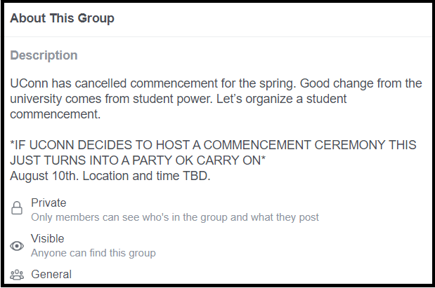 """While the Facebook group, aptly named """"2020 Post-virus Graduation"""" was made before President Katsouleas' announcement, O'Hara has adjusted it to serve as an after-celebrating celebrating all the class of 2020's hard work.  Screenshot of Facebook Group."""