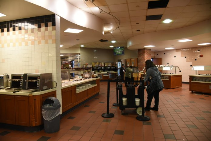 Freshens, the Student Union Marketplace and every cafe on campus has been shut down until further notice. This leaves South dining hall as the only remaining place where students still on UConn's campus can get meals.  Photo by Charlotte Lao/The Daily Campus.