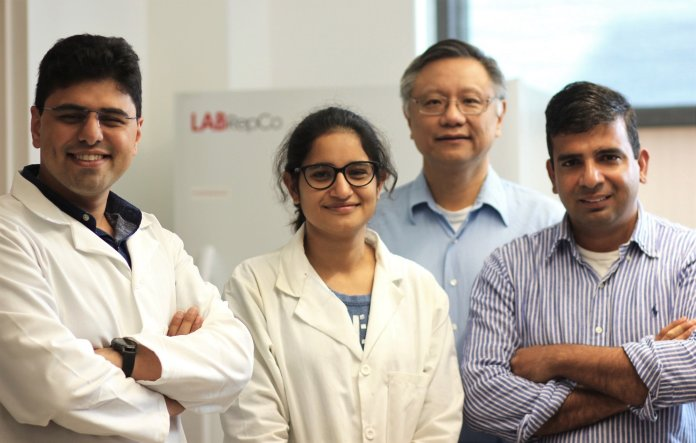 Armin Tahmasbi Rad, Dr. Mu-Ping Nieh, Shipra Malik and Dr. Raman Bahal have begun studying PNA at UConn. The goal of their research is to help deliver cancer treatments more precisely.  Photo courtesy of UConn Today.