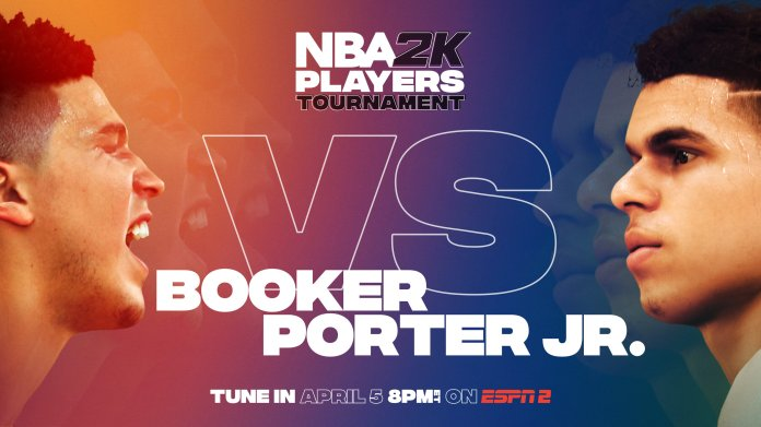 Devin Booker and Michael Porter Jr. competed Sunday in what was one of the closest games in the opening round. On the back of Brook Lopez, Booker walked away with a 10-point victory.  Photo via Twitter @NBA2k.