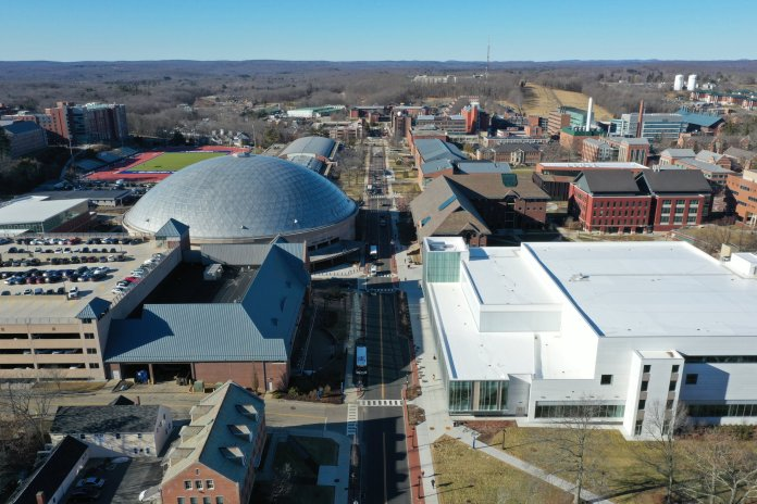 """The University of Connecticut campus. The UConn administration potentially has the means to help """"flatten the curve"""", according to contributor Ben Gladstone.  Photo by Eric Wang/The Daily Campus"""