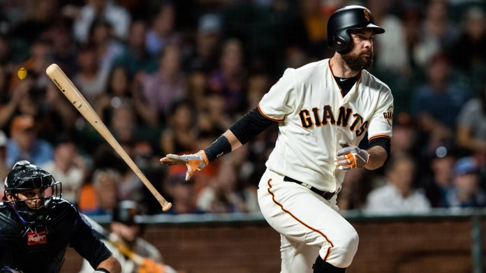 San Francisco Giants first baseman Brandon Belt. He, alongside Los Angeles Angels of Anaheim pitcher Jaime Barria set the MLB record for the longest at-bat in 2018, at 21 pitches. Photo courtesy of  @NBCSGiants  on Twitter
