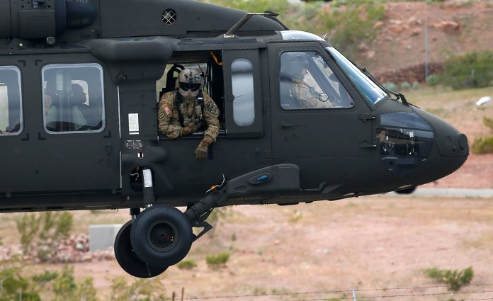 The remote Navajo Nation town of Kayenta, Tuesday, March 31, 2020, in Phoenix. Several dozen guardsmen have been dispatched to the hard-hit reservation to build a temporary hospital and resupply clinics.  (AP Photo/Ross D. Franklin)