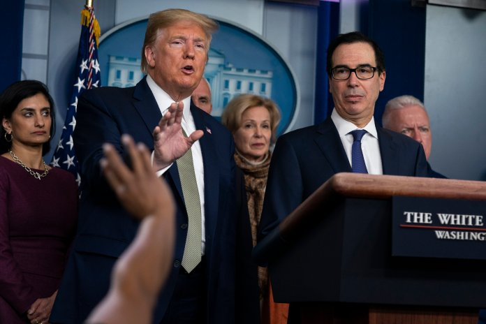 President Donald Trump speaks during a press briefing with the coronavirus task force, at the White House in Washington, on March 17, 2020. Trump has been telling voters that the U.S. economy will leap back stronger than ever after its bout with the coronavirus. It is highly important to look at multiple, reputable sources in order to get real answers.  Photo by Evan Vucci / AP Photo.