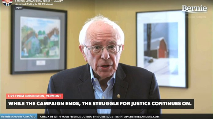 This image from video provided by the Bernie Sanders presidential campaign shows Sen. Bernie Sanders, I-Vt., as he announces he is ending his presidential campaign Wednesday, April 8, 2020, in Burlington, Vt.  Photo courtesy of Bernie Sanders for President via AP.