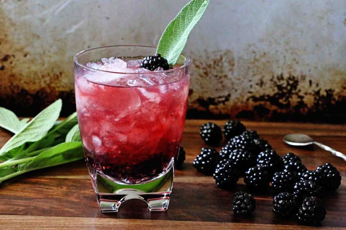 A blackberry sage old fashioned, made by Mereditch Steele at Steele House Kitchen.  Photo courtesy of   Steele House Kitchen