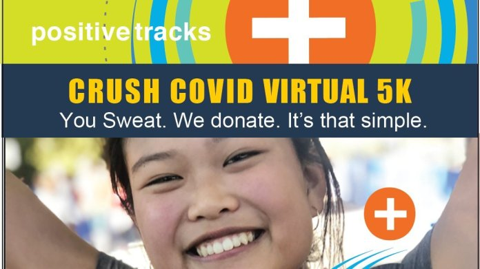 Positive Tracks asked anyone who ran a 5K to post a picture of themselves, and they would in turn donate $10 to recovery efforts. This is one of many examples where running is used to raise funds to COVID-19.  Photo via Twitter    @PosTracks   .