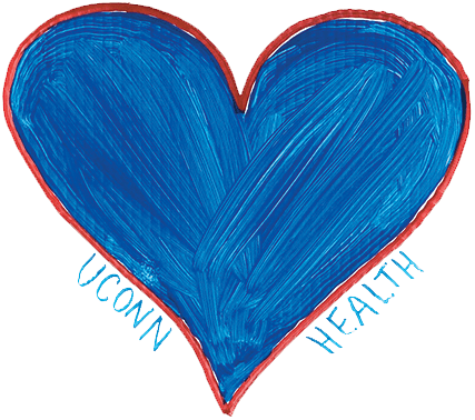 UConn Health is asking people to show their support for healthcare workers with blue hearts, not red ones.  Photo courtesy of UConn Health