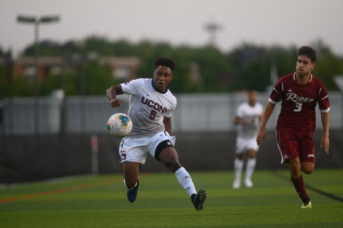 Senior Dayonn Harris had another solid season, leading the team with nine assists and adding two goals. He was chosen with the 20th overall pick in this year's MLS Draft.  Photo by Charlotte Lao/The Daily Campus.
