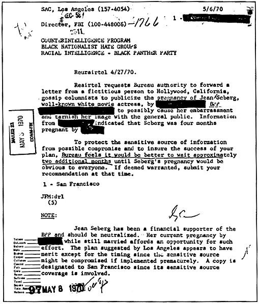 A COINTELPRO document outlining the FBI's plans to 'neutralize' Jean Seberg, an American actress, for her support for the Black Panther Party.