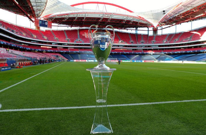 Trophy for the winners of the Champions League final soccer match between Paris Saint-Germain and Bayern Munich is placed on the pitch at the Luz stadium in Lisbon, Portugal, Sunday, Aug. 23, 2020.  Photo by Miguel A. Lopes/Pool via AP