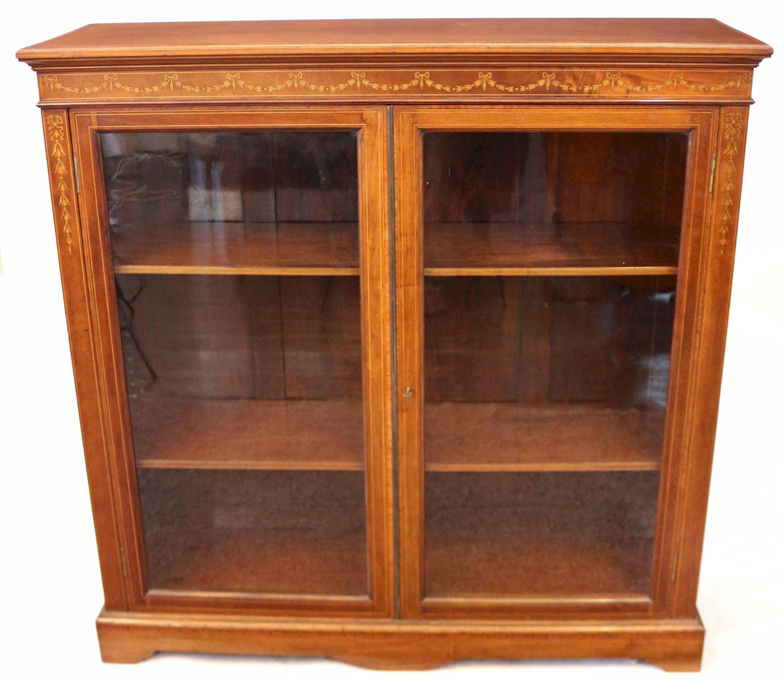 Edwardian Inlaid Mahogany 2 Door Cabinet Bookcase