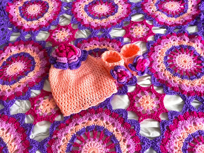 Hibiscus Baby Layette Blanket, Booties and Hat FREE Crochet Pattern