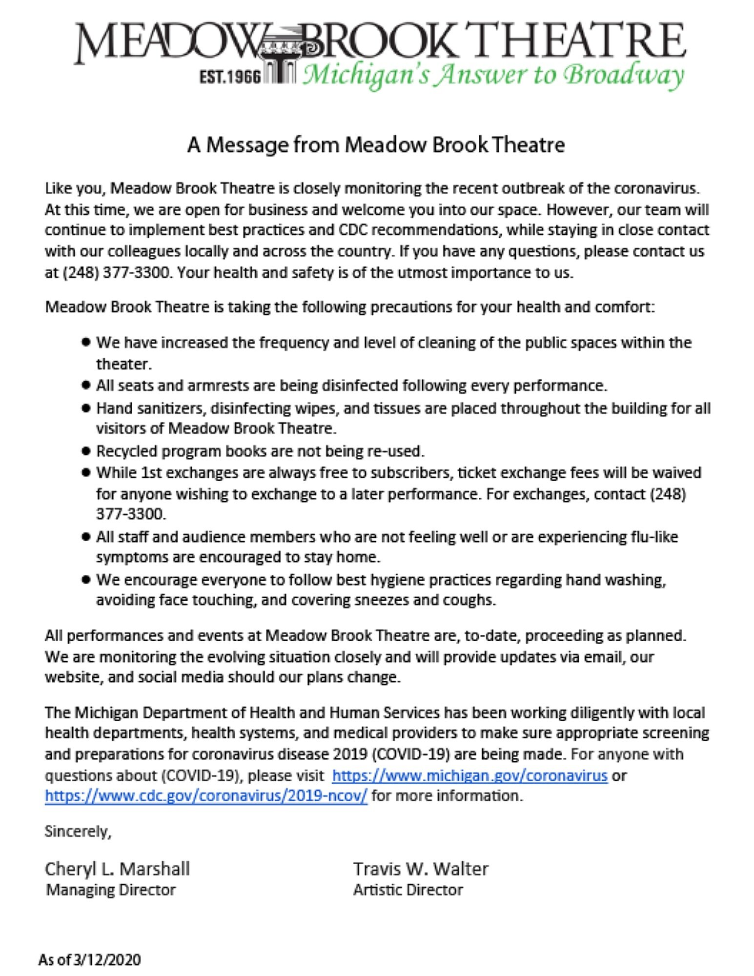 Coronavirus Updates — Meadow Brook Theatre