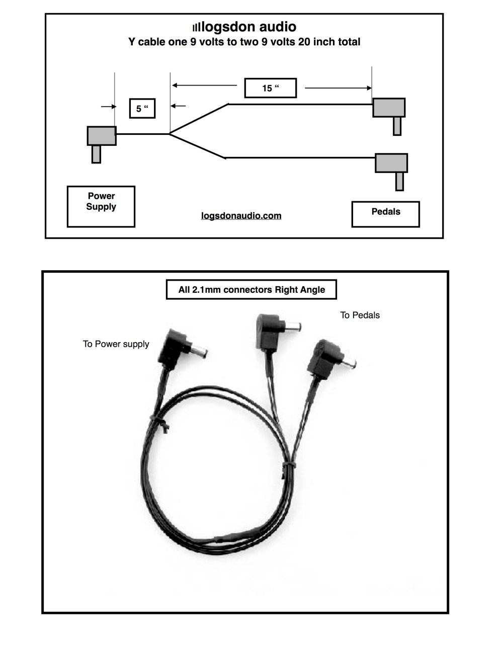 medium resolution of one 9 volt to two 9 volt effects pedal power cable