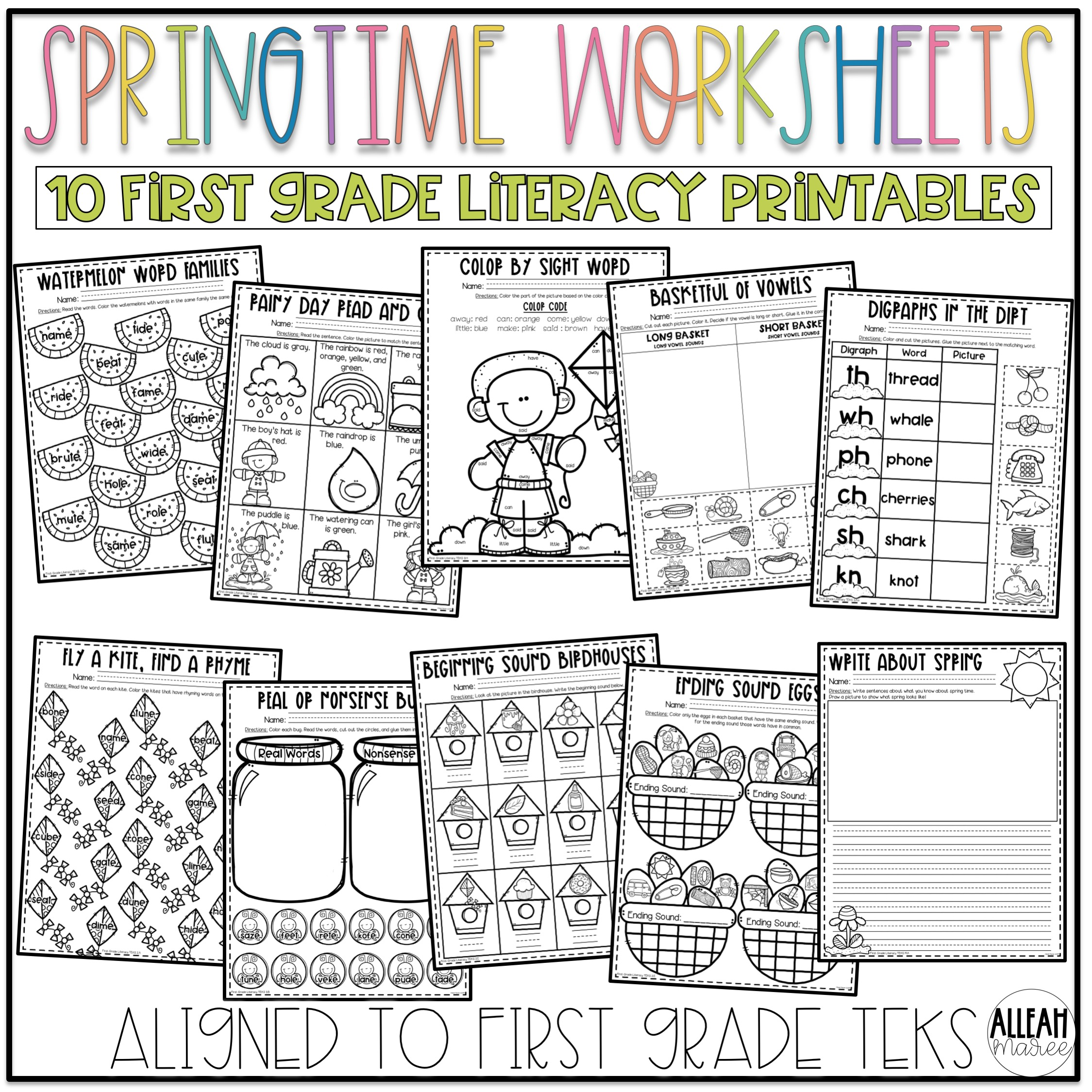 Springtime Worksheets for First Grade: Spring Literacy and Math Printables  — Alleah Maree [ 1000 x 1000 Pixel ]