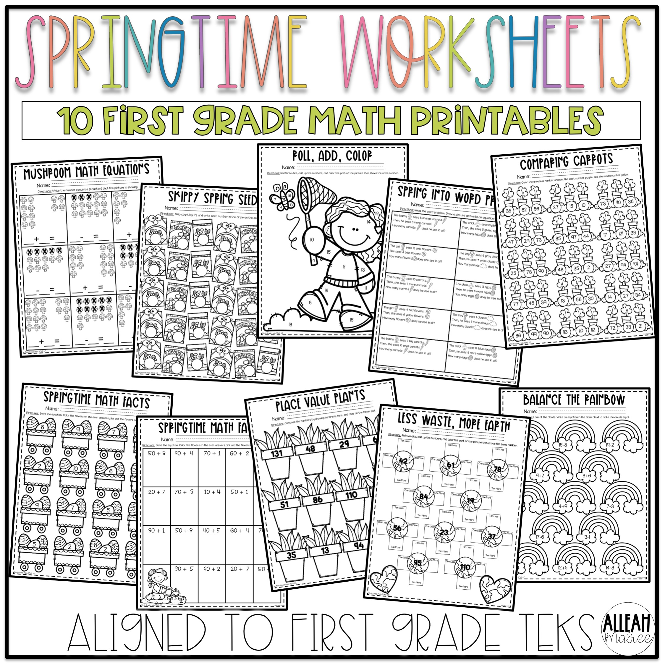 medium resolution of Springtime Worksheets for First Grade: Spring Literacy and Math Printables  — Alleah Maree