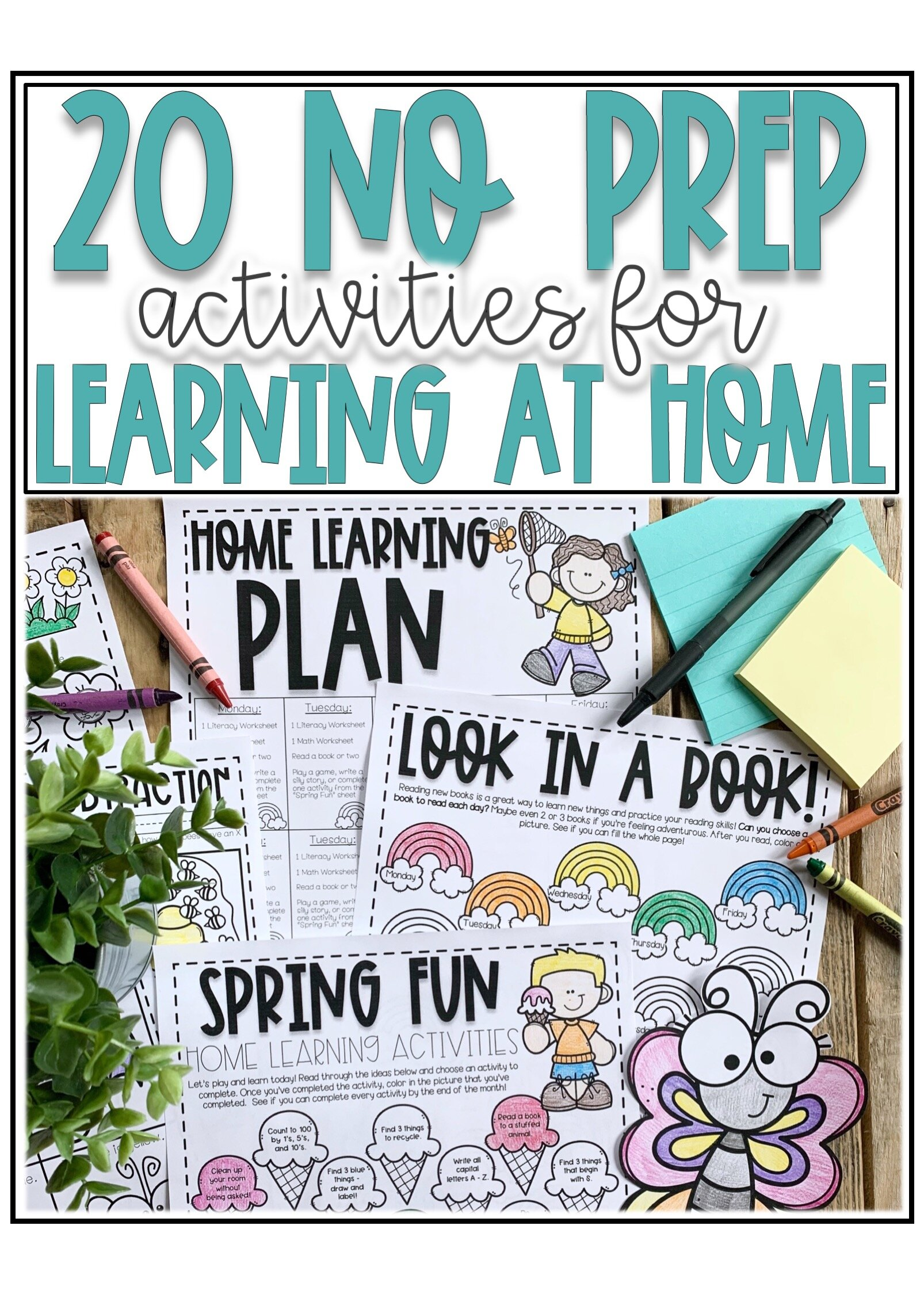 20 No Prep Activities for Learning at Home — Alleah Maree [ 2249 x 1606 Pixel ]