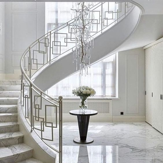 50 Amazing And Modern Staircase Ideas And Designs — Renoguide   Modern Glass Staircase Design   Half Wall Glass   Marble Floor Glass   Modern Style   Stainless Steel   Stair Case